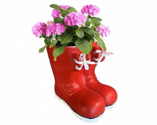 Wellington Boots Flower Pot Planter in Red